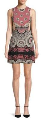 Valentino Silk Cut-out Printed Mini Dress