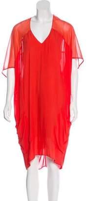 Helmut Lang Midi Semi-Sheer Dress Orange Midi Semi-Sheer Dress
