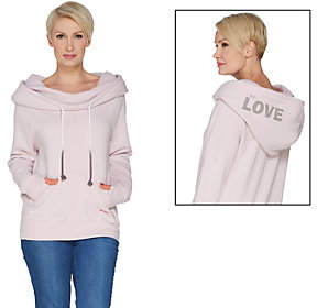 Peace Love World Cowl Neck Hoodie withAffirmation