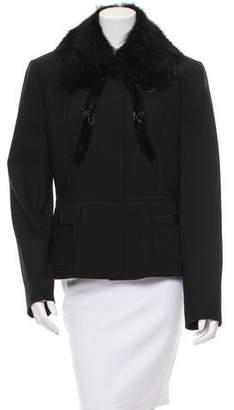 Dolce & Gabbana Embellished Fur-Trimmed Jacket w/ Tags