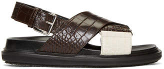 Marni Brown and White Croc Fussbett Sandals