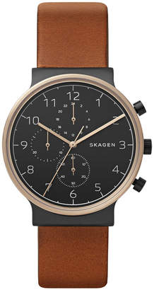 Skagen Men's Chronograph Ancher Brown Leather Strap Watch 40mm