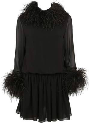 Saint Laurent Feather Dress