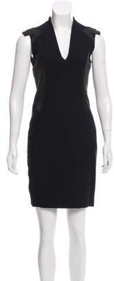 Helmut Lang Leather-Paneled Mini Dress