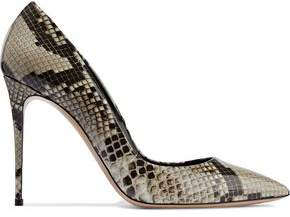 Casadei Perfect Snake-Print Patent-Leather Pumps