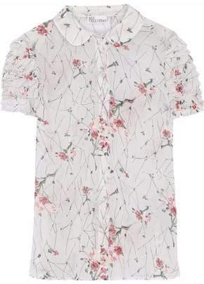 RED Valentino Tiered Floral-Print Silk-Blend Chiffon Shirt