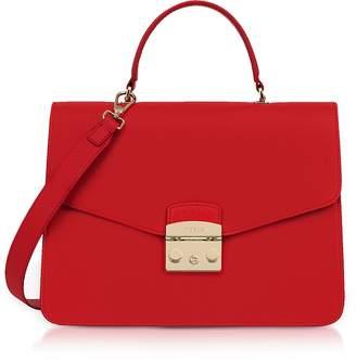 Furla Ruby Lizard Printed Leather Metropolis Medium Top Handle Satchel Bag