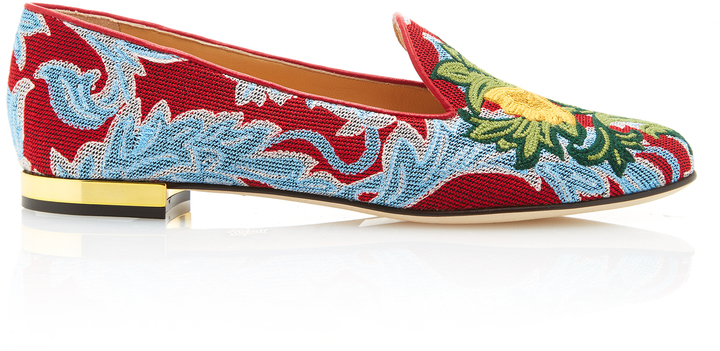 Charlotte Olympia Charlotte Olympia M'O Exclusive: Mamma Mia Embroidered Canvas Slippers