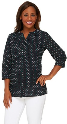 3fe8108eb92 ... Denim   Co. Swiss Dot Button Front Blouse with Knit Tank