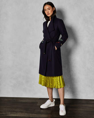 Ted Baker TYYLAA EMBROIDERED CONTRAST WRAP COAT