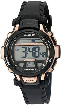 Armitron Sport Unisex 45/7036BRG Rose Gold-Tone Accented Digital Black Resin Strap Watch