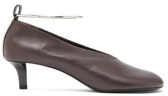 Jil Sander Ankle Bracelet Leather Pumps - Womens - Dark Brown