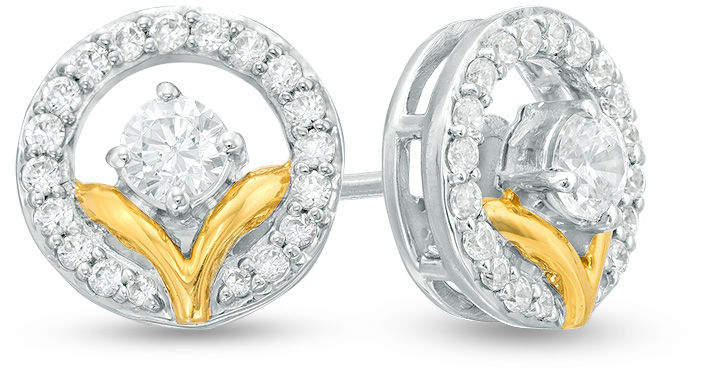 """Zales 1/2 CT. T.W. Diamond """"V"""" Circle Stud Earrings in Sterling Silver and 14K Gold Plate"""