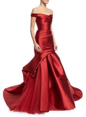 Monique Lhuillier Off-The-Shoulder Draped Trumpet Gown, Deep Red $6,995 thestylecure.com