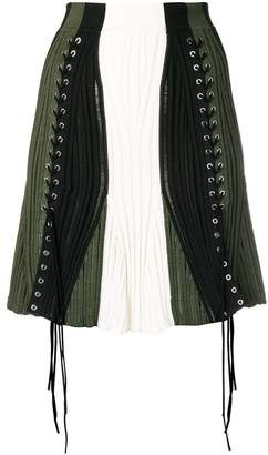 Alexander McQueen laddered colour-block skirt