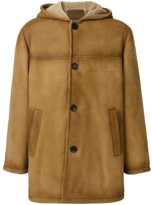 Prada sheepskin hooded coat