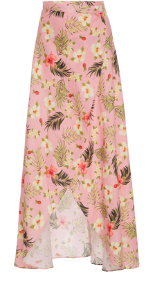 Miguelina Hibiscus Printed Asymmetric Wrap Skirt $345 thestylecure.com