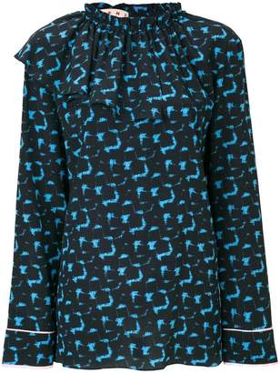 Marni printed top with a ruffle neck