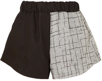 Simon Miller Nyssa Two-tone Linen-blend Shorts - Black