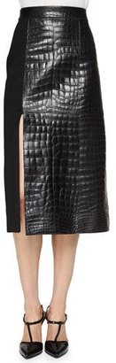 Jason Wu Croc-Embossed Leather Paneled Skirt $2,995 thestylecure.com
