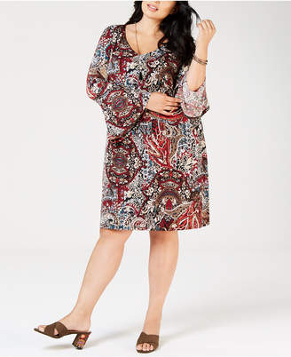 Connected Plus Size Paisley-Print Bell-Sleeve Dress