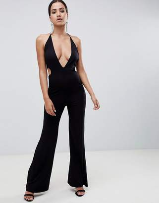f54b7321adc5 Asos Design DESIGN jumpsuit with flare leg and cut out detail