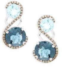 LeVian Diamond and Blue Topaz Earrings, 0.45 TCW