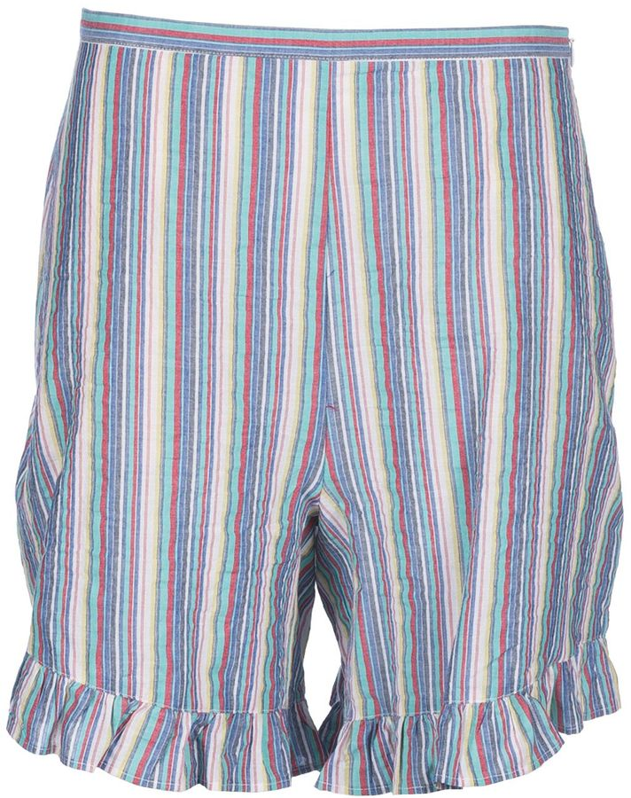 See By ChloeSee By Chloé Striped Ruffle Trim Shorts