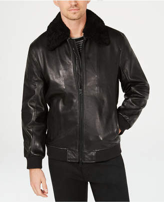 Kenneth Cole New York Kenneth Cole Mens Leather Jacket with Shearling Collar