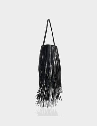 Calvin Klein Short Fringe Bucket Bag in Black Calf