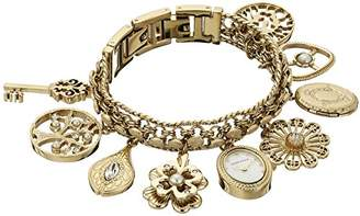 At Anne Klein Women S 10 8096chrm Swarovski Crystal Accented Gold Tone Charm Bracelet Watch