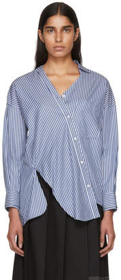 Enfold Blue and White Striped Broad Twist Design Shirt