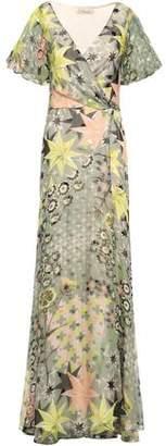 Temperley London Printed Fil Coupe Silk-blend Wrap Dress