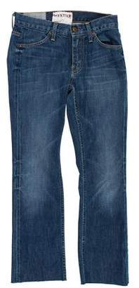 Elizabeth and James Distressed Mid-Rise Straight-Leg Jeans
