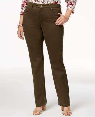 Charter Club Plus Size Lexington Tummy-Control Colored Wash Straight-Leg Jeans