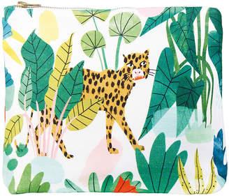 K Levering &Klevering - Bodil Leopard Wash Bag/Clutch - Cotton - Large