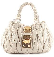 Miu MiuMiu Miu Beige Gaufre Ruched Leather Gold Tone Satchel Handbag BP4251 MHL
