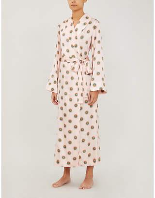 Yolke Sun-print stretch-silk dressing gown