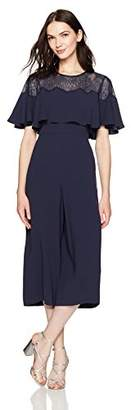 BCBGMAXAZRIA Women's Sofie Woven Cape Jumpsuit with Lace Detail