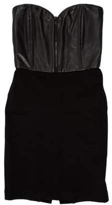 Alice + Olivia Strapless Leather-Trimmed Dress