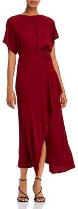 Yigal Azrouel Shirred Asymmetric Jersey Maxi Dress