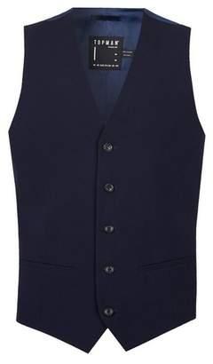 Topman Mens Blue Navy Skinny Fit Suit Vest containing Wool