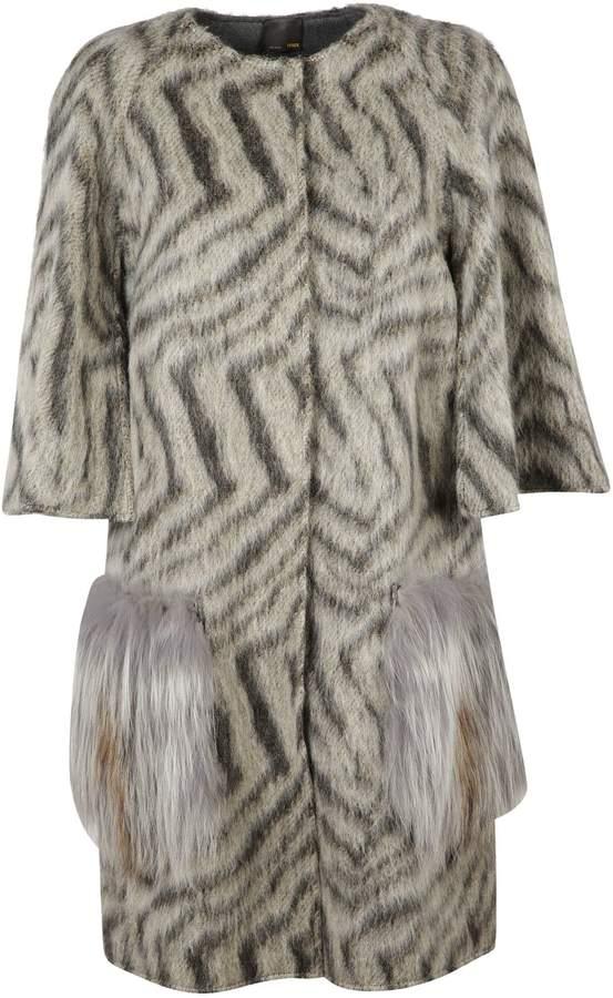 Fendi Fur Applique Cardi-Coat