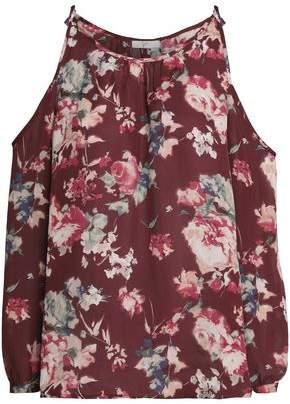 Joie Jilette Cold-Shoulder Floral-Print Silk Blouse