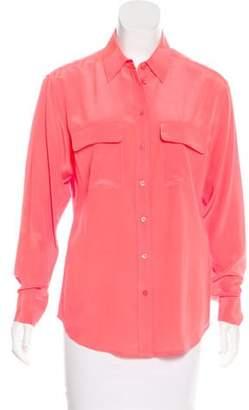 Equipment Long Sleeve Silk Button-Up Top