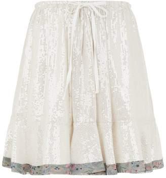 Chloé Ruffle Hem Sequin Skirt