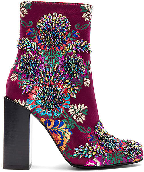 Jeffrey Campbell Beaded Stratford Bootie in Wine