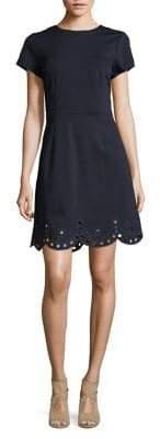 Eliza J Embroidered Short-Sleeve Dress