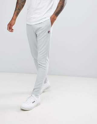 Fila White Line Slim Leg Joggers With Pin Tuck In Gray