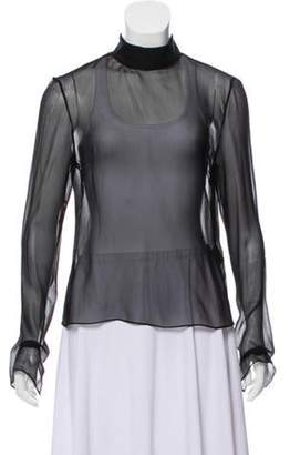 Juan Carlos Obando Sheer Silk Blouse Black Sheer Silk Blouse